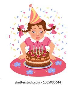 girl blows out candles on the birthday. Happy birtday vector illustration