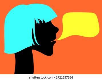 Girl with blue hair black silhouette. Speech bubble. Vector illustration.
