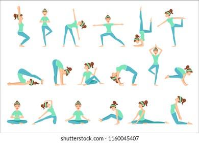 Girl In Blue Training Clothes Demonstrating Yoga Asana