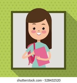 girl with book bag student frame dot shadow background