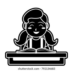 Girl and book design