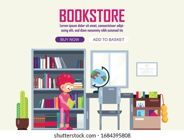 Girl in bookstore, shopping or reading in bookstore. An interior of bookstore or library. Flat style illustration, Vector, Library.