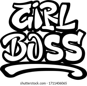 Girl Boss Feminist quote. Hand lettering illustration with graffiti style letters and 3D letters.