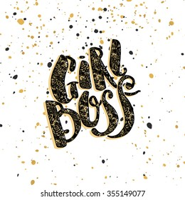 Girl Boss modern concept of independent women. Watercolor hand lettering motivation poster. Artistic design for a logo, greeting cards, invitations, posters, banners, seasonal greetings illustrations