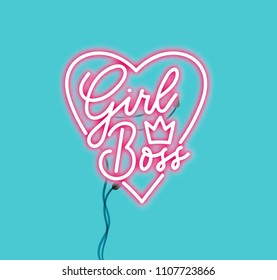 Girl boss pink neon sign isolated on blue background. Realistic neon lettering sign for female boss. Vector illustration.