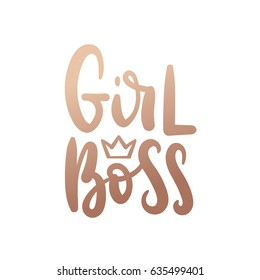 Girl Boss Vector poster. Brush calligraphy isolated on white background. Feminism slogan with hand drawn lettering. Print for poster, card.