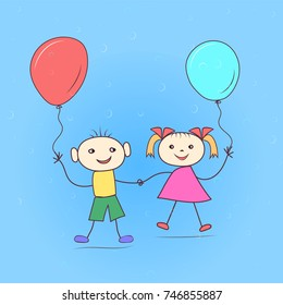 Girl and boy with balloons. Hand drawing. Cartoon style.