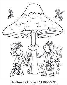 Girl and boy, and a big mushroom in the forest. Black and white vector for card or gift. For coloring.