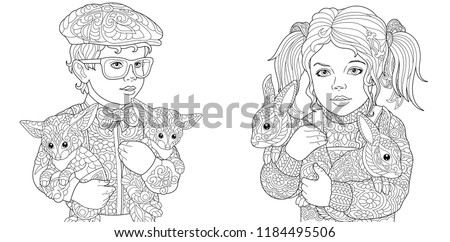 Girl Boy Coloring Pages Coloring Book Stock Vector (Royalty Free ...