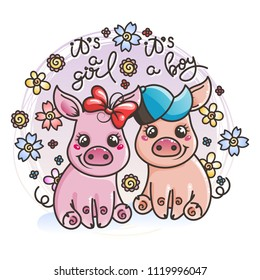 It is a girl, it is a boy. Cute cartoon baby pigs on a flower background. Vector illustration