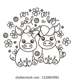 It is a girl, it is a boy. Cute cartoon baby pigs on a flower background. Vector illustration, coloring page