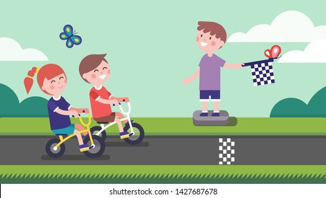 Girl & boy cyclists riding bicycles to finish line & kid racing checkered finish flag. Smiling children cartoon characters enjoying playing racing competition in park street. Flat vector illustration