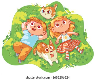 Girl, boy, dog and cat lying on green grass together. Sun glare on faces. Top view. Funny cartoon character. Vector illustration. Isolated on white background