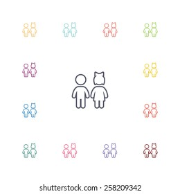 girl and boy flat icons set. Open colorful buttons