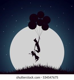 Girl and boy flying with helium balloons at the night together.Romantic illustration