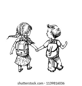 girl and boy go to school,hand drawn illustration