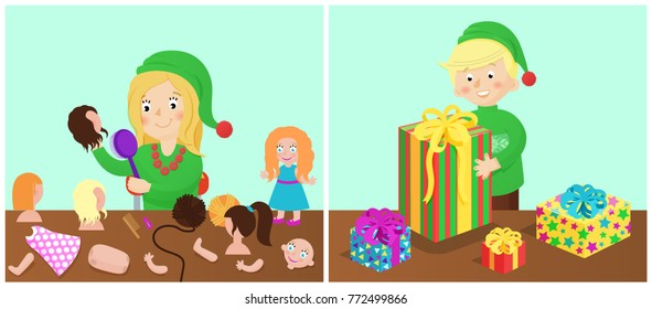 Girl and boy happy with presents, doll and parts of body, toys of children wearing green costumes, vector illustration isolated on blue background
