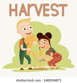 A girl and a boy are harvesting cereals. The boy holds a sheaf of wheat, the girl reaps ripe ears with the help of a sickle. Harvest. Farming and agriculture. People doing farming job. Vector
