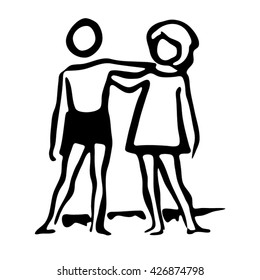 Girl and boy holding arms around each other icon.