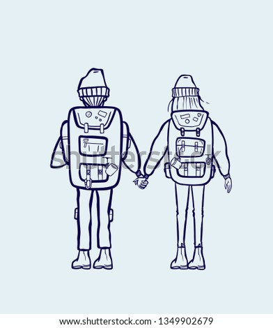 Girl Boy Holding Hands Hiking Backpacks Stock Vector (Royalty Free