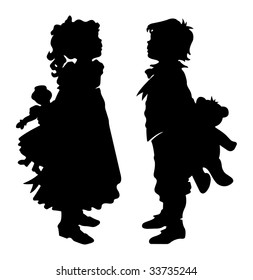 Girl and Boy Holding Teddy Bear and Doll Black Silhouette