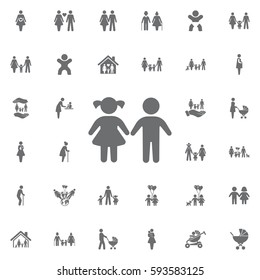 girl and boy icon on white background. Set of family icons