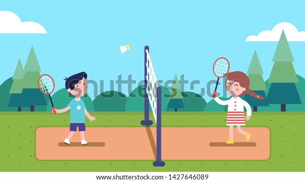 Girl and boy kids playing badminton with shuttle on court in summer park. Happy children playing sport game together having fun. Players cartoon characters. Sport & leisure. Flat vector illustration