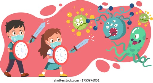Girl, boy kids using swords, shields fight corona virus, flu and bacteria together. Children protect health from germs using masks & gloves. Epidemic covid disease prevention flat vector illustration