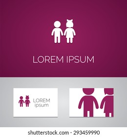 girl and boy logo template icon design elements with business card