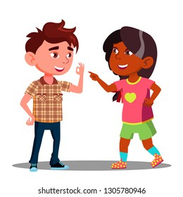 Girl And Boy Makes Fingers Appointment Vector. Isolated Illustration