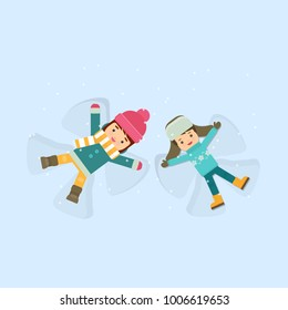 Girl and boy making a snow angel. Flat vector illustration