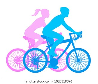 Girl and boy on a bicycle on a white background