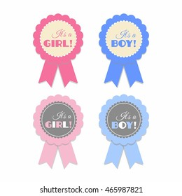 It's a girl, It's a boy pink and blue rosette vector isolated set