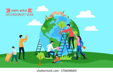 girl and boy are planting trees to save earth environment