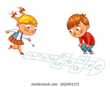 Girl and boy play in Hopscotch. Funny cartoon character. Vector illustration. Isolated on white background