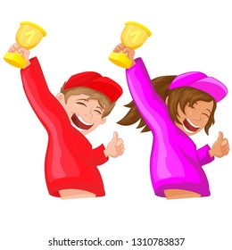 Girl and boy raising the cup of victory. Vector illustration