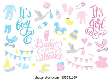 Girl and boy rattle shower set for invitation, lettering design illustration