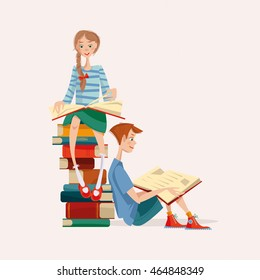 Girl and boy read books. Literacy Day. Vector illustration