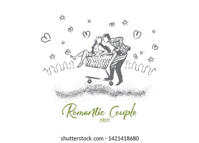 Girl and boy riding in a shopping cart, romantic date moment, beautiful evening skyscape, young people in love. True relationship goals concept sketch. Hand drawn vector illustration