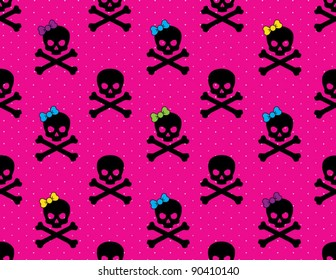 Girl and Boy Skull and Cross Bones Pattern on Hot Pink  Dotted Background