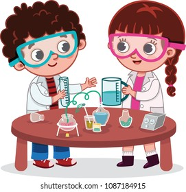 A Girl and a Boy Students in Science Lab Class. Vector Illustration