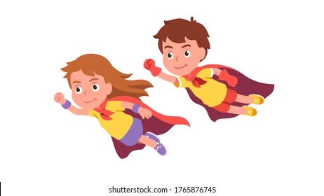 Girl & boy super heroes couple flying together showing clenched fist power & strength gesture. Brave kids superheroes wearing red cape costumes. Cute children cartoon characters. Flat vector illustrat