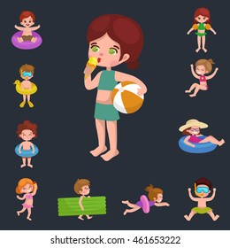 girl and boy in swimsuit isolated, kids summer vacation vector illustration, cute child ready for beach and sun, playing water and fun at swimming pool.