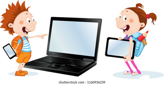 Girl and boy with tablet, smart phone and notebook - vector cartoon flat design illustration isolated on white background