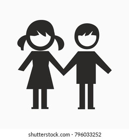 girl and boy together black closed icon