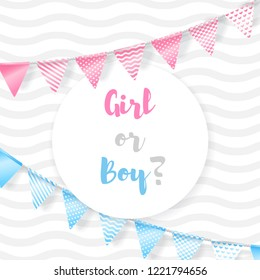 Girl or boy. Vector greeting card for baby shower