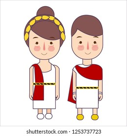 Girl and boy wearing Ancient Rome Greek costume for school History. Vector illustration drawing
