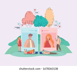 Girl and boys pictures trees bubbles and people with smartphones design, Youth culture cool person human profile and user theme Vector illustration