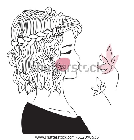 Girl Braided Hair Oblique Woman Face Stock Vektorgrafik Lizenzfrei