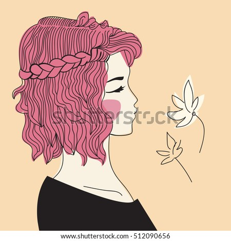 Girl Braided Hair Oblique Woman Face Stock Vector Royalty Free